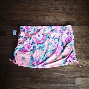 Plus Size Tropical Print Swimsuit Cover